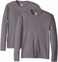 Hanes Men's New Polyester Long Sleeve Performance Cool Dri T-Shirt, Pack2. 482L