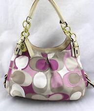 COACH Mia Maggie Pink Tan Beige Canvas Fabric Leather Signature Hobo Bag16335