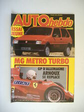 AUTO HEBDO n°381 RENAULT 11 TX-MG METRO TURBO-GP F1 ALLEMAGNE-24 H FRANCORCHAMPS