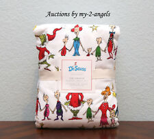 Pottery Barn Kids Christmas Dr. Seuss's THE GRINCH Flannel Full Sheet Set TEEN