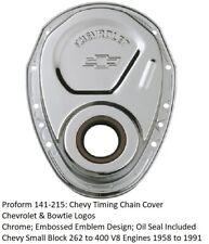 Proform 141-215: Chrome Timing Cover Chevrolet & Bowtie Emblem