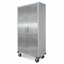 Metal Rolling Garage Tool File Storage Cabinet Shelving Stainless Steel Doors