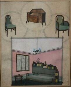 Aquarelle originale  Projet Etude ameublement Art déco vers 1930