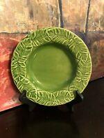 "NEW Bordallo Pinheiro Leaf Service Green Rim Soup Bowl Majolica Portugal 9"" MINT"
