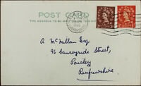 Vintage Postcard with Queen Elizabeth II 2D & ½D Stamps Posted from Paisley 1960