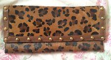 Beverly Feldman Clutch handbag purse leopard pink gold calf hair