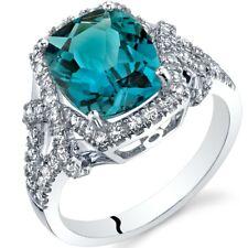 Oravo 14K White Gold 3.50 carat London Blue Topaz Cushion Cocktail Ring