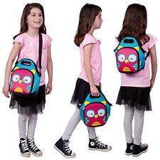 Lightweight Neoprene Kids Insulated Cooler Lunch Bag Tote Backpack - Owl Blue
