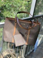 Michael Kors Large Leather Shoulder Tote Purse Bag Handbag Brown+Passport Wallet