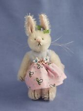 """DEB CANHAM """"BARBIE BUNNY"""" WHITE MOHAIR MINIATURE BUNNY-PINK DRESS- 3 3/4""""JOINTED"""