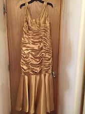 Ladies Vintage Antique Gold Satin Mermaid Style Evening Gown Dress Back Buttons