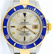 Rolex Submariner 18K Gold Stainless Steel White MOP Diamond Serti Blue Sub 16613