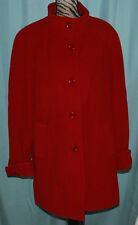 Appleseed's Long Wool Blend Winter Coat Womens Size 14 Red Lined Jacket Plus
