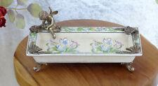Schale Porzellan Prunkschale Schlüsselablage Obstschale Tablett Bronze Deko Neu