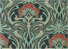 RETRO FLORA NOUVEAU PEACOCK GREEN FLORAL FEATURE DESIGNER WALLPAPER CROWN M1196