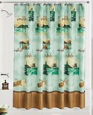 Mountain Lake Shower Curtain Teal Green Gold Brown Wood Plank Border