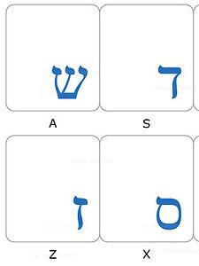 HEBREW KEYBOARD STICKER LABEL TRANSPARENT BLUE LETTERS ONLINE-WELCOME