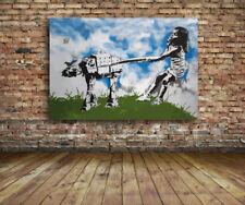 "Eelus- Star Wars Girl walking  -24""x36"" Canvas Print Urban Graffiti Banksy"
