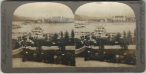 Airship Watching Crowds 1905 Lewis & Clark Exposition Stereoview Card