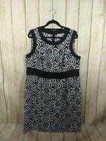 Dressbarn Womens Plus Size 16W Black White Floral Damask Sleeveless Sheath Dress