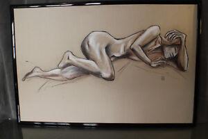 Très grand dessin nu féminin signé SG Garrigues female nude drawing