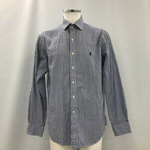 Polo Ralph Lauren Shirt Mens Size 17/43 Blue White Striped Cotton Formal 113962