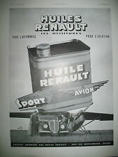 PUBLICITE DE PRESSE RENAULT HUILE AUTO AVIATION SPECIAL SPORT FRENCH AD 1935