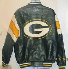 Green Bay Packers NFL Faux leather COAT Varsity JACKET YELLOW green XL j175