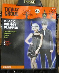 Sexy 1920s Flapper Womens Halloween Costume Dress Headpiece Black Size Small