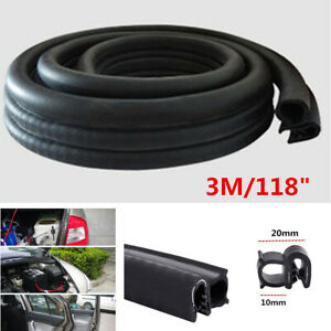 Universal 3M Car Door Pillar Edge Moulding Weather Strip Rubber Steel Seal Strip