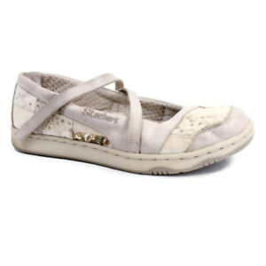 Skechers Originals Womens Sz 7.5 Beige Leather Fabric Patchwork Mary Jane Flats