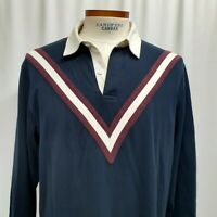 Brooks Brothers Men's Rugby polo shirt Large Logo Navy Blue Burgundy Cotton