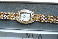 Nolan Miller Glamour Collection Gold Tone Clear Crystal Watch Orig Box NEW Rare