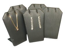 """Grey Earring Display Faux Leather Jewelry Display Pendant Stand 3 1/4""""T Lots 5Pc"""