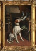 "Hand painted Old Master art Oil painting Animal Portrait dog on Canva 24""X36"""