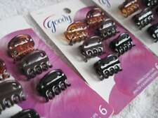 6 Goody Brynn Plastic Claw Clips Black Browns Small Mini Tiny Hair Jaw Holes
