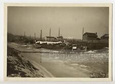 Janville : péniche dans la glace, par E. Hutin, Hiver 1929 - Photo vintage