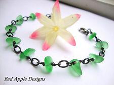 Emerald Green Pebble Sea Glass Black Gunmetal Chain Link Bracelet Beach Hawaii