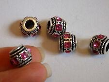 5 GROS TROU perles charm Diamante strass cristal bracelet antique UK