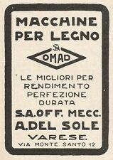 Z2319 Macchine per legno OMAD - A. Del Sole - Varese - Pubblicità 1928 - Advert