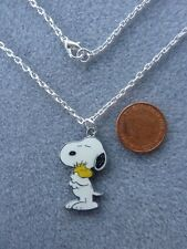 """Snoopy Cuddly Woodstock Enamel Pendant Necklace 18"""" Chain Birthday Gift # 163"""