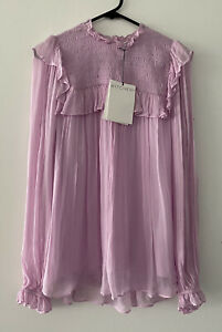 Witchery Shirred Frill Blouse Top Size 8 RRP$139.95