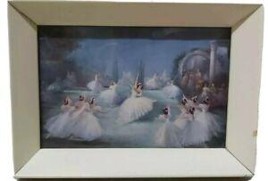 Vintage Ballet Ballerina Print Original Shabby Chic 17.5 x 12.5cm Framed 1950's