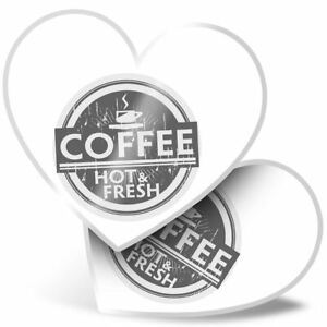 2 x Heart Stickers 15 cm - BW - Coffee Hot and Fresh Cafe  #40681