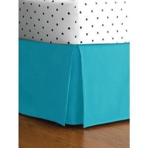 1000 TC Pima Cotton Box Pleat Bedskirt Bed Valance Turquoise Blue Solid