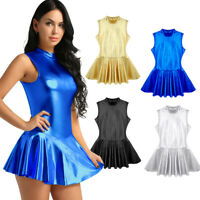 Fashion Womens Metallic Leather Wet Look Sexy Stand Collar Clubwear Party Dress