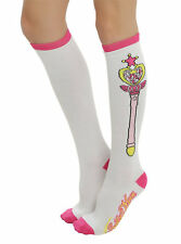 SAILOR MOON WAND KNEE HIGH SOCKS PINK & WHITE FREE SHIP NEW ANIME TRADEMARK