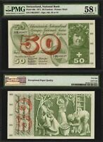 1971 Switzerland Banknote 50 Francs P# 48k Choice About Uncirculated 58 EPQ