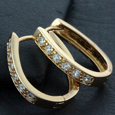 Gold Diamond Simulated Huggie Hoop Earring Fs638 Genuine Real 18Ct Rose G/F