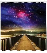 Universe Galaxy Cosmos Wooden Bridge Panorama Celestial ExtraLong Shower Curtain